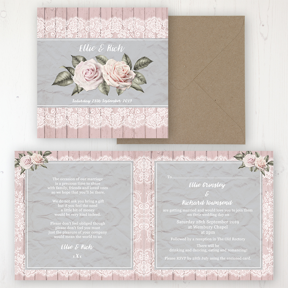 Powder Rose Wedding Invitation - Folded Personalised Front & Back with Rustic Envelope