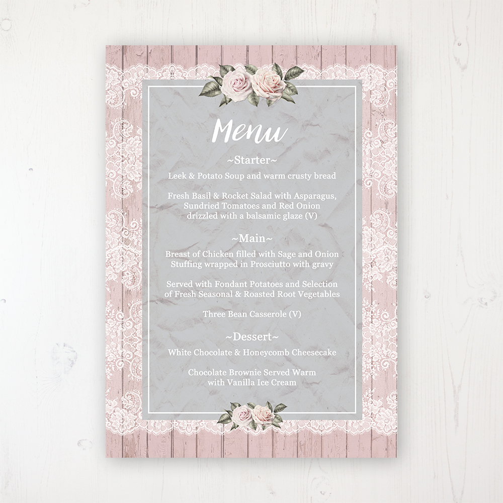 Powder Rose Wedding Menu Card Personalised to display on tables