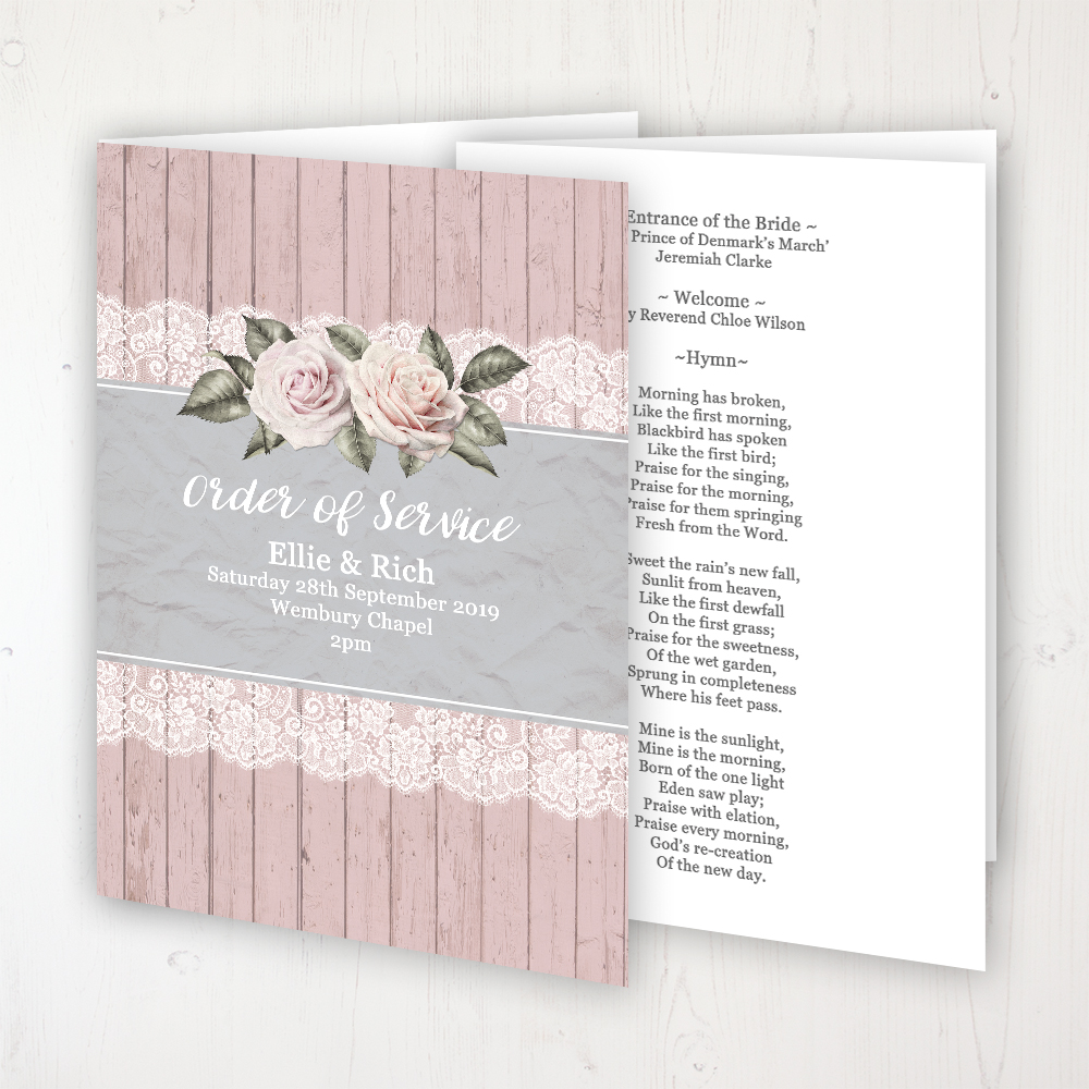 Powder Rose Wedding Order of Service - Booklet Personalised Front & Inside Pages