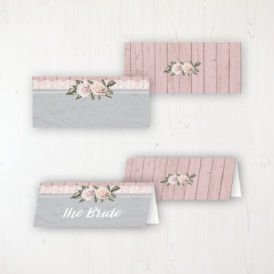 Powder Rose Wedding Place Name Cards Blank and Personalised with Flat or Folded Option