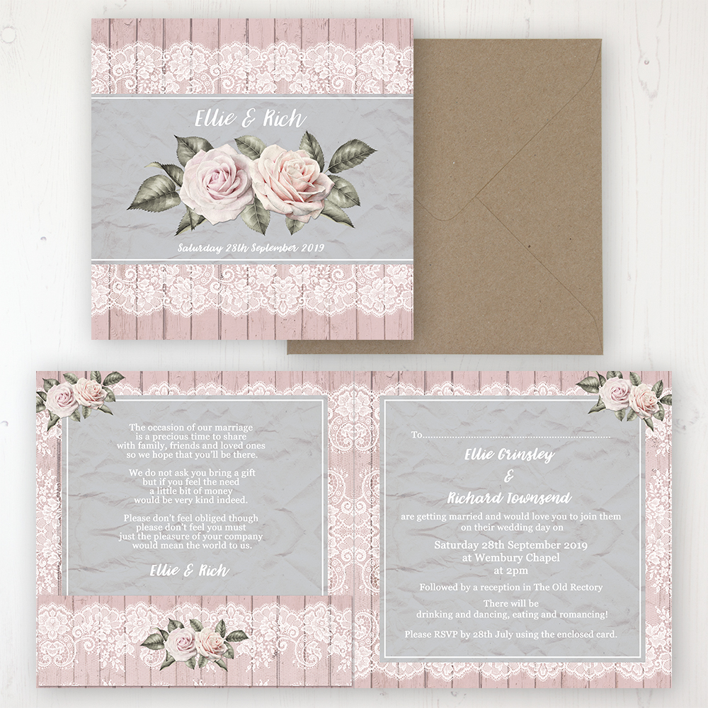 Powder Rose Wedding Invitation - Folded Personalised Front & Back with Pocket in inside cover. Includes Rustic Envelope