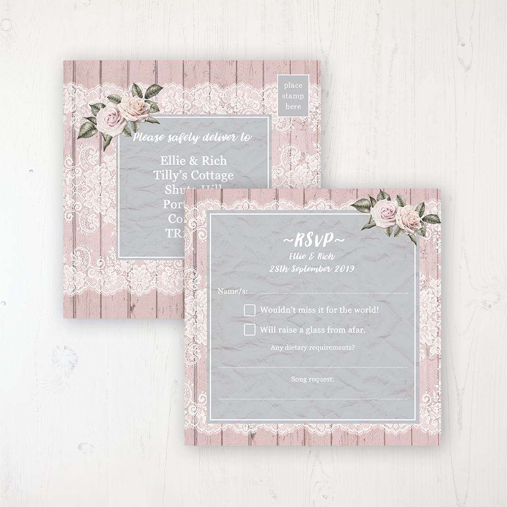 Powder Rose Wedding RSVP Postcard Personalised Front & Back