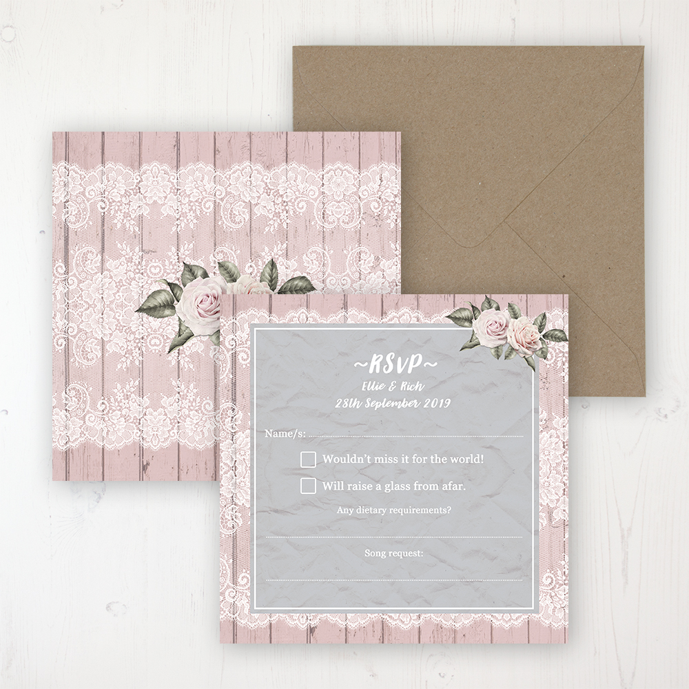 Powder Rose Wedding RSVP Personalised Front & Back with Rustic Envelope