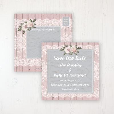 Powder Rose Wedding Save the Date Postcard Personalised Front & Back