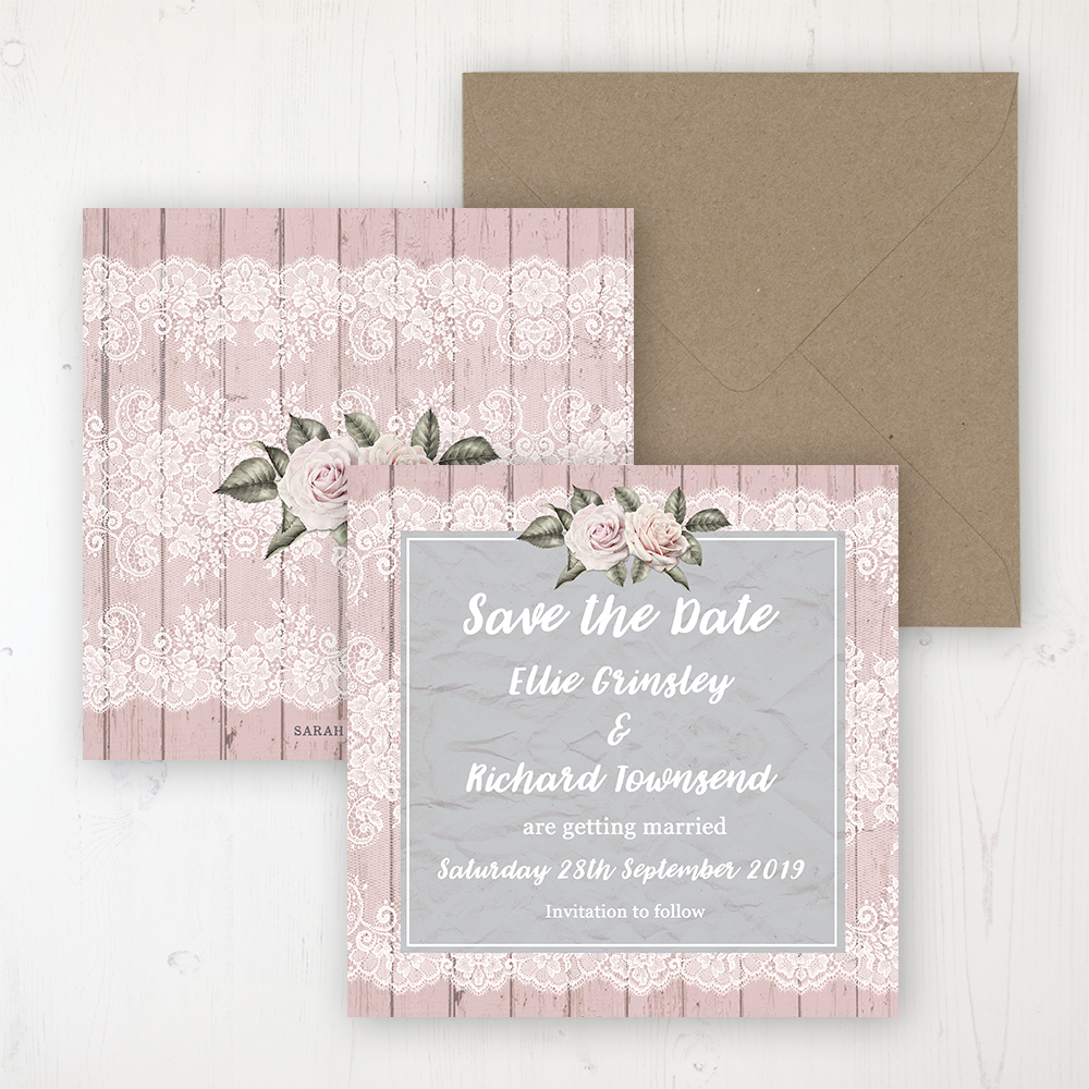 Powder Rose Wedding Save the Date Personalised Front & Back with Rustic Envelope