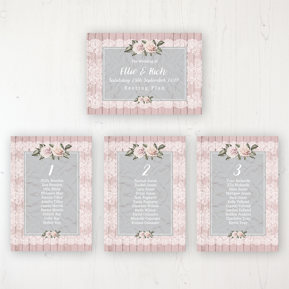 Powder Rose Wedding Table Plan Cards Personalised with Table Names and Guest Names