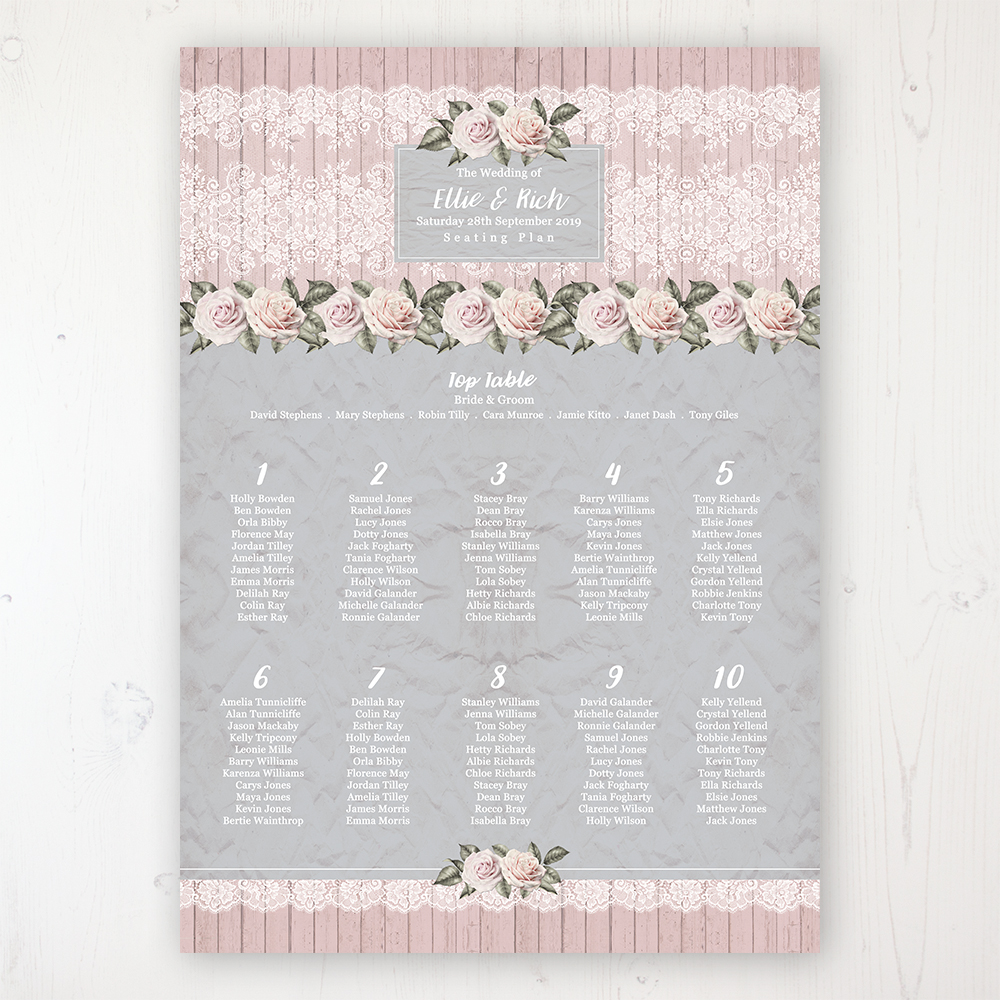 Powder Rose Wedding Table Plan Poster Personalised with Table and Guest Names