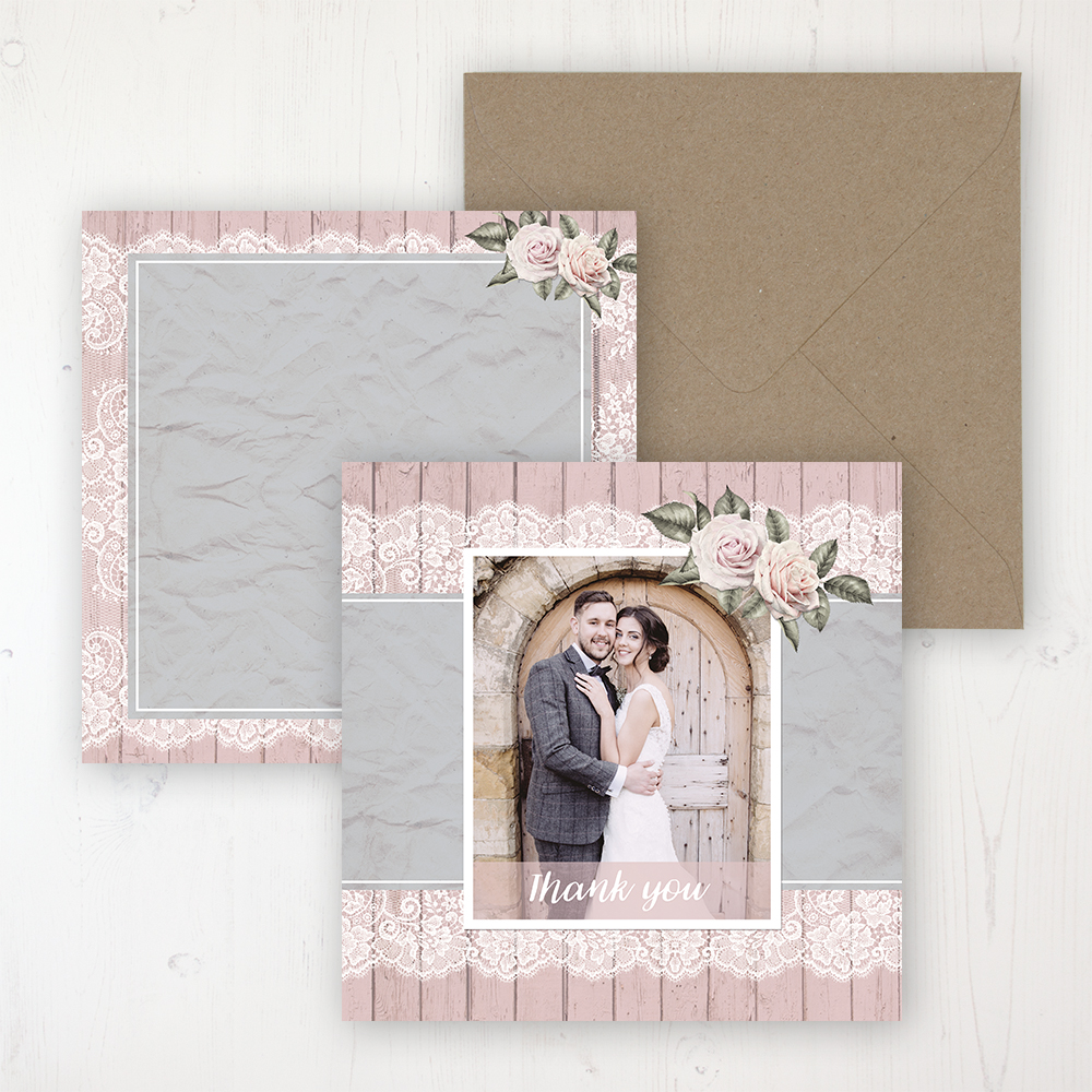 Powder Rose Wedding with a photo and with space to write own message