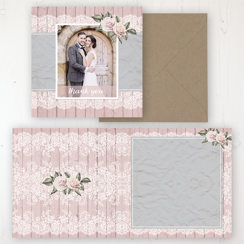 Powder Rose Wedding Thank You Card - Folded Personalised with a Message & Photo