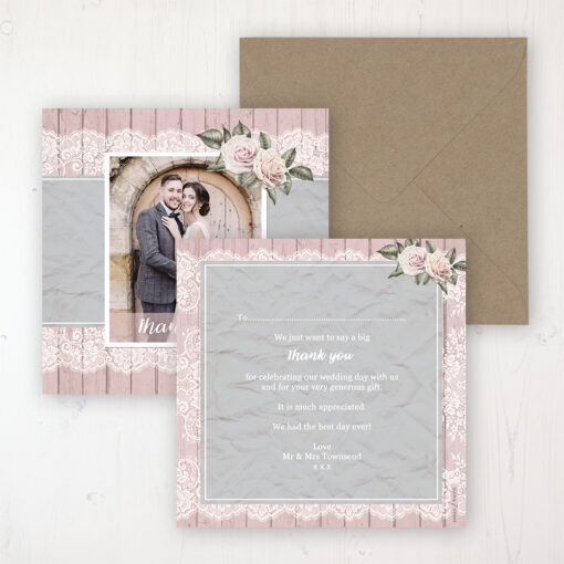 Powder Rose Wedding Thank You Card - Flat Personalised with a Message & Photo
