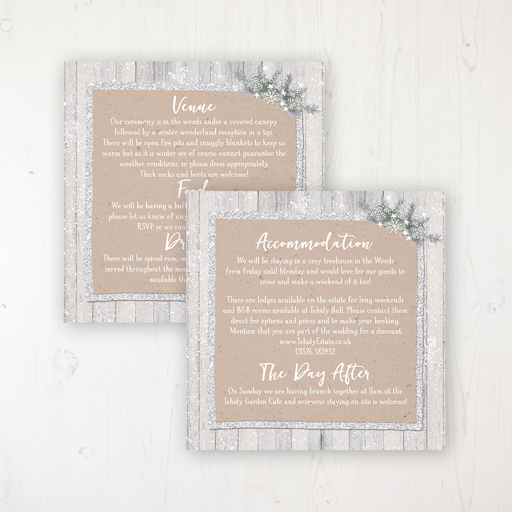 Winter Wonderland Wedding Info Insert Card Personalised Front & Back