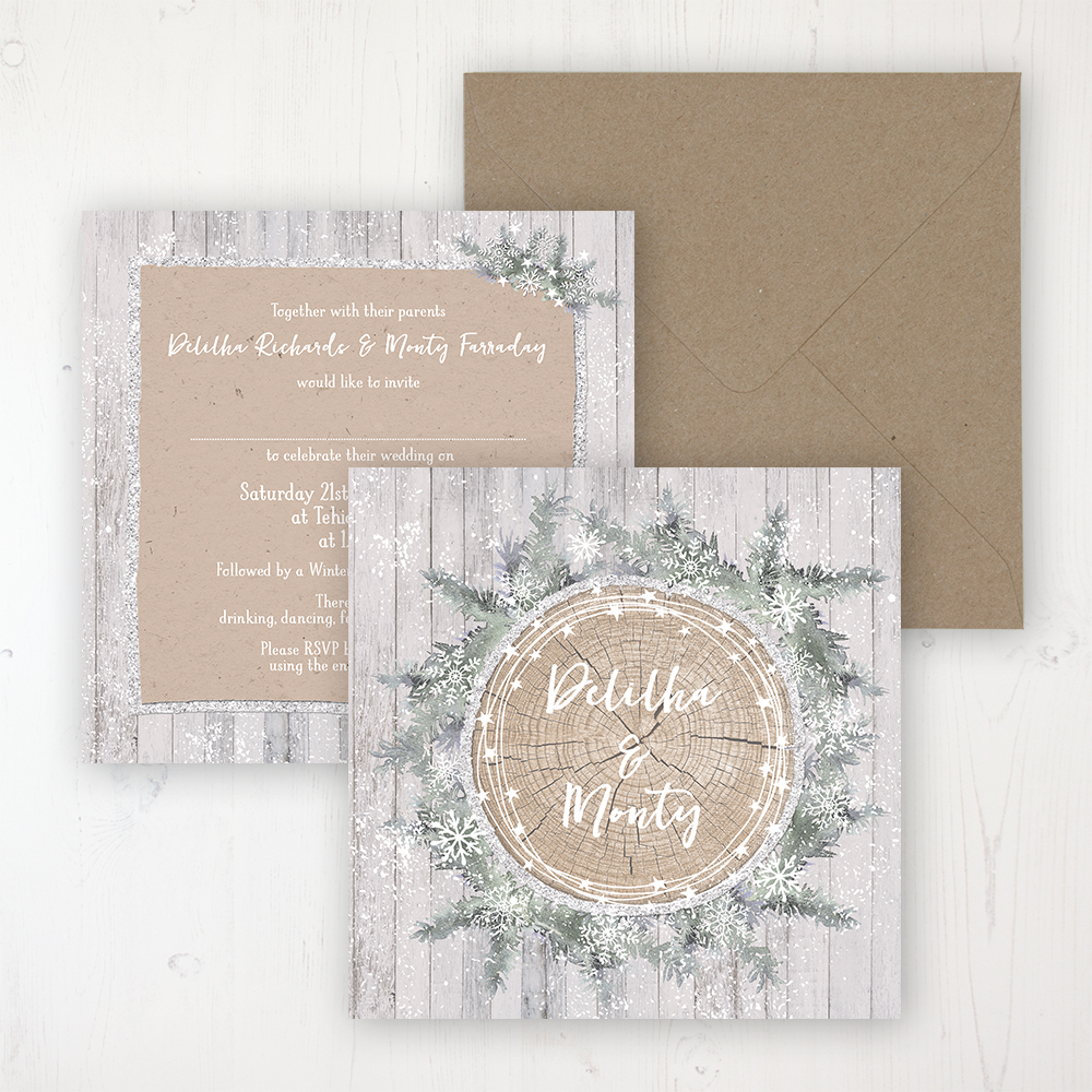 Winter Wonderland Wedding Invitation - Flat Personalised Front & Back with Rustic Envelope
