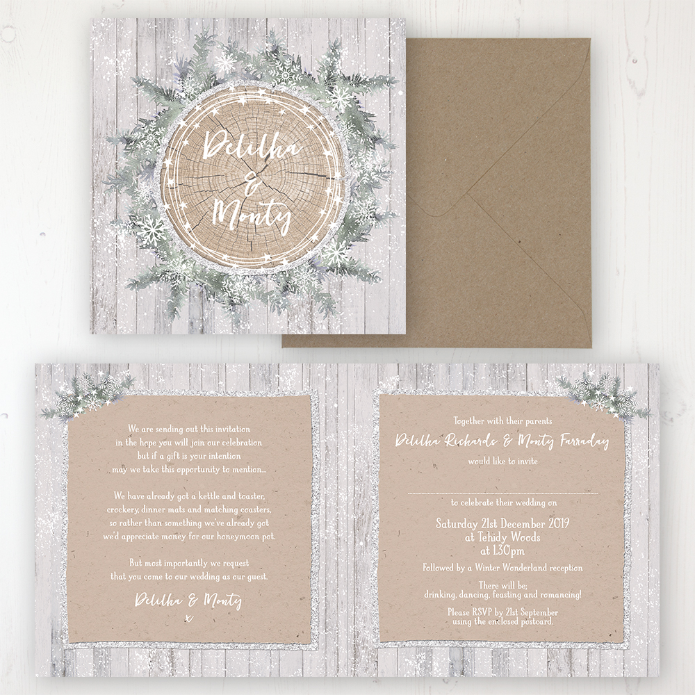 Winter Wonderland Wedding Invitation Folded Personalised Front Back With Rustic Envelope