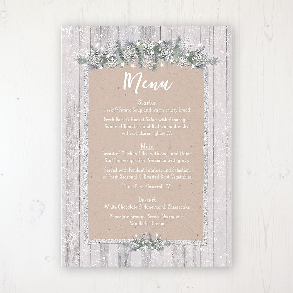 Winter Wonderland Wedding Menu Card Personalised to display on tables