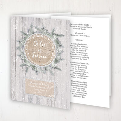 Winter Wonderland Wedding Order of Service - Booklet Personalised Front & Inside Pages