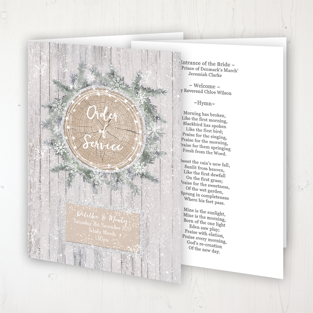 Winter Wonderland Wedding Order of Service - Booklet Personalised Front & Inside Pages