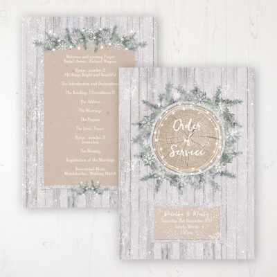 Winter Wonderland Wedding Order of Service - Card Personalised front and back