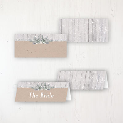 Winter Wonderland Wedding Place Name Cards Blank and Personalised with Flat or Folded Option