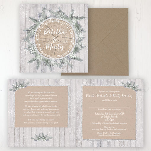 Winter Wonderland Wedding Invitation - Folded Personalised Front & Back with Pocket in inside cover. Includes Rustic Envelope