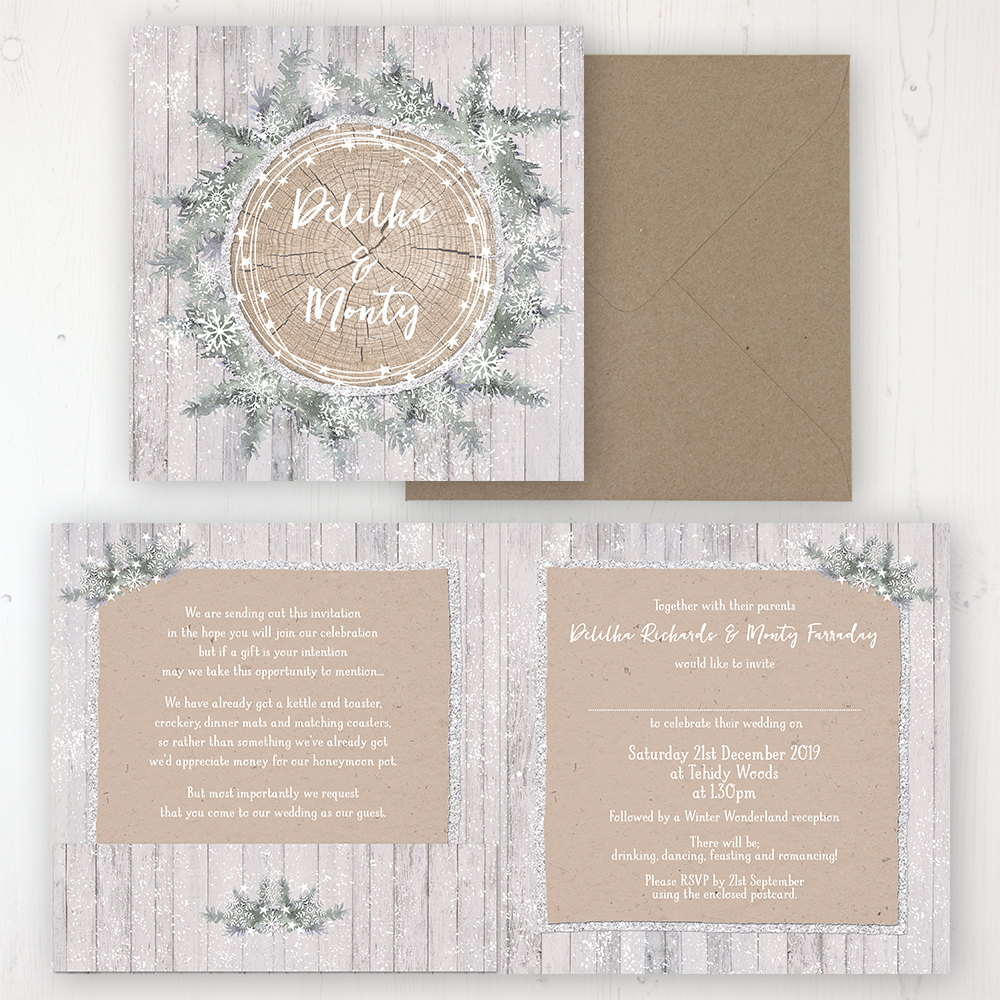 Winter Wonderland Wedding Invitation Folded Personalised Front Back With Pocket In Inside Cover