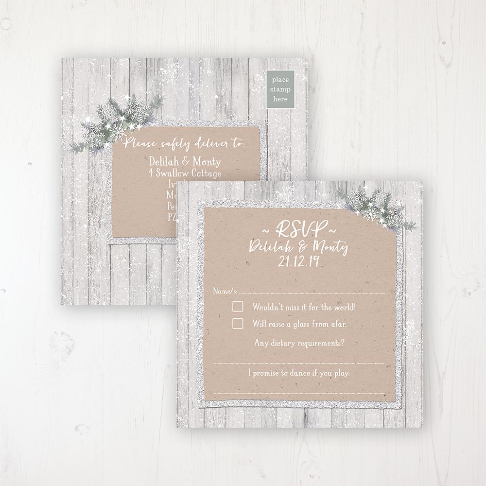 Winter Wonderland Wedding RSVP Postcard Personalised Front & Back