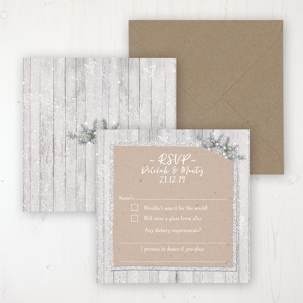 Winter Wonderland Wedding RSVP Personalised Front & Back with Rustic Envelope