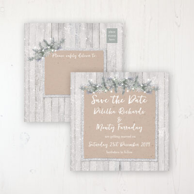 Winter Wonderland Wedding Save the Date Postcard Personalised Front & Back