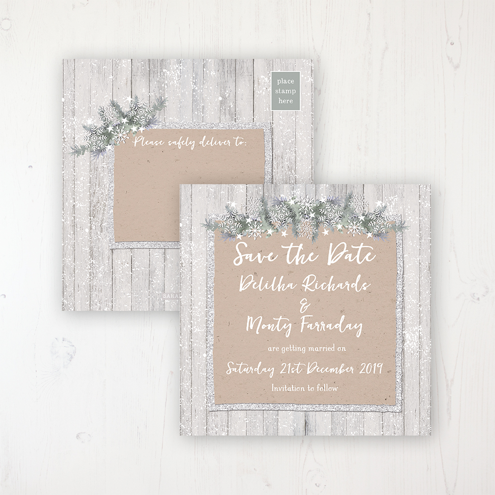 Winter Wonderland Wedding Save the Date Postcard Personalised Front & Back