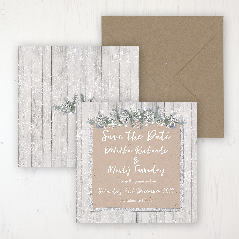 Winter Wonderland Wedding Save the Date Personalised Front & Back with Rustic Envelope