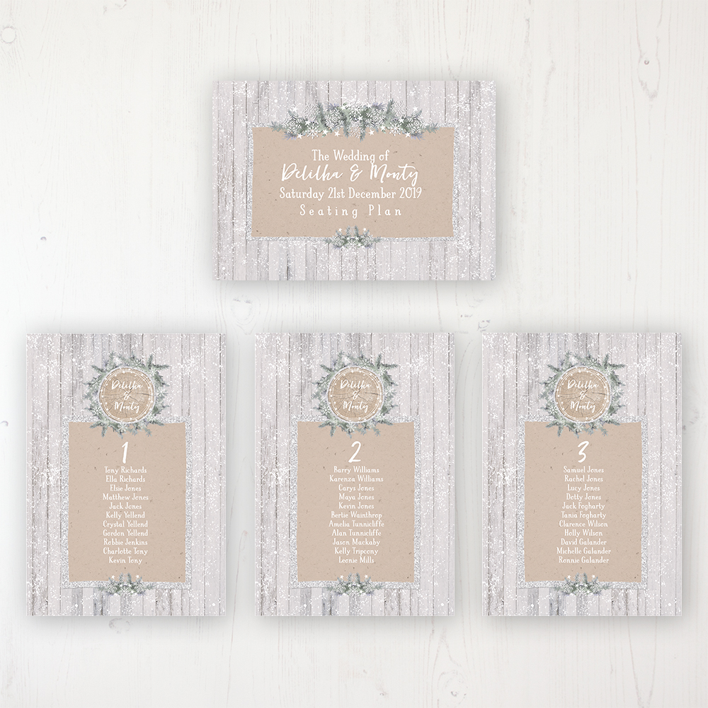 Winter Wonderland Wedding Table Plan Cards Personalised with Table Names and Guest Names