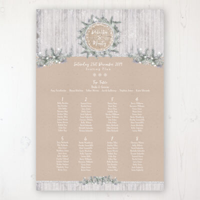 Winter Wonderland Wedding Table Plan Poster Personalised with Table and Guest Names