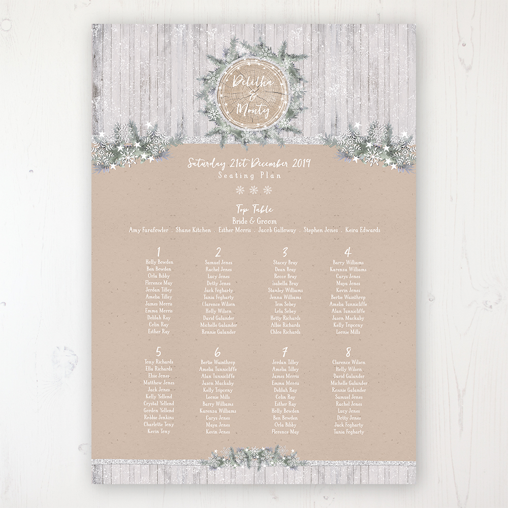Winter Wonderland Wedding Table Plan Poster