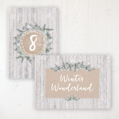 Winter Wonderland Wedding Table Name & Number Personalised Table Name Card and Number Card