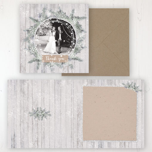 Winter Wonderland Wedding Thank You Card - Folded Personalised with a Message & Photo
