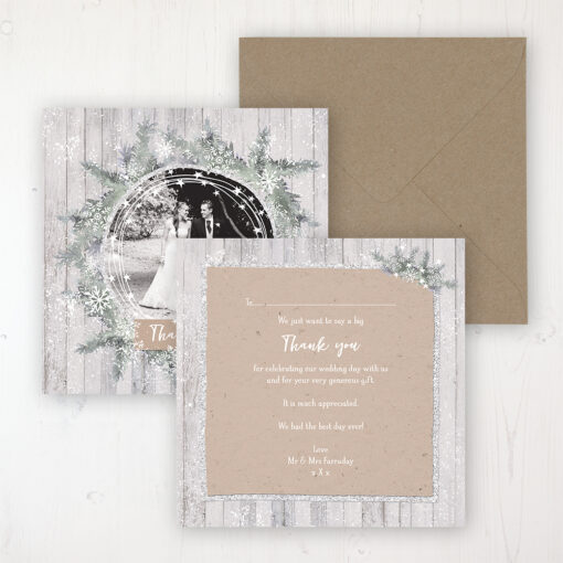 Winter Wonderland Wedding Thank You Card - Flat Personalised with a Message & Photo
