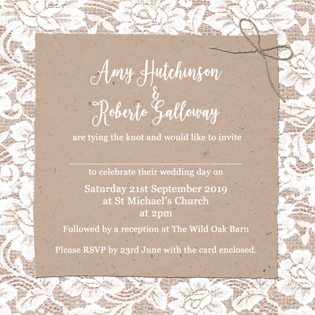 The complete guide to wedding invitation wording sarah wants example of informal wedding invite wording in chantilly lace design at sarah wants stopboris Image collections
