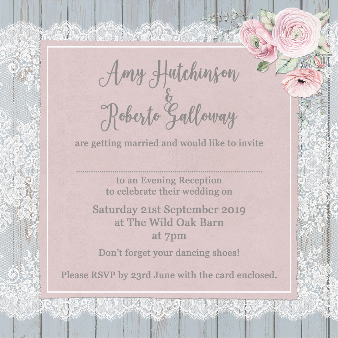 The complete guide to wedding invitation wording sarah wants example of evening wedding invitation wording in dusty flourish design at sarah wants stopboris Image collections