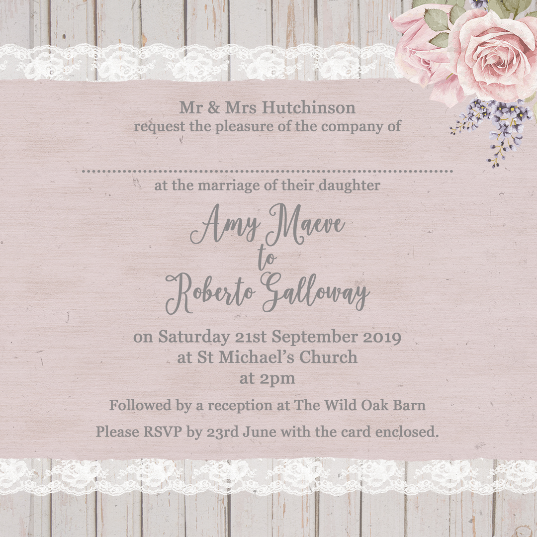 The complete guide to wedding invitation wording sarah wants example of traditional wedding invite wording on mink rose design from sarah wants stopboris Image collections