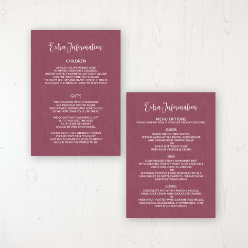 Bordeaux Vineyard Wedding Info Insert Card Personalised Front & Back