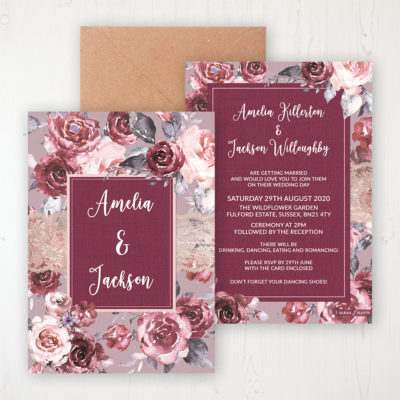 Bordeaux Vineyard Wedding Invitation - Flat Personalised Front & Back with Rustic Envelope