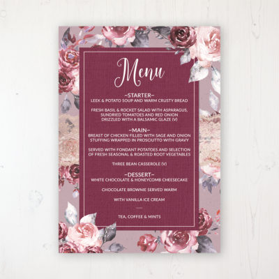 Bordeaux Vineyard Wedding Menu Card Personalised to display on tables