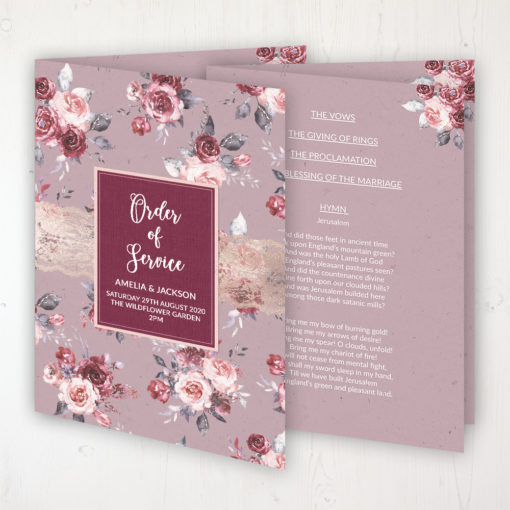 Bordeaux Vineyard Wedding Order of Service - Booklet Personalised Front & Inside Pages