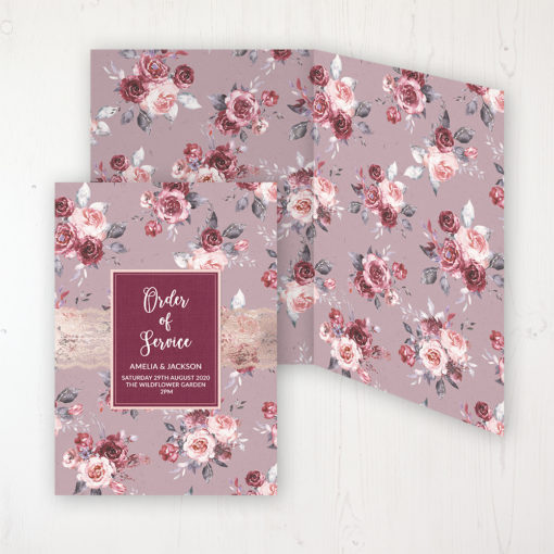 Bordeaux Vineyard Wedding Order of Service - DIY Cover Personalised Cover with Patterned Inside