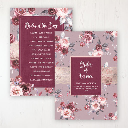 Bordeaux Vineyard Wedding Order of Service - Card Personalised front and back