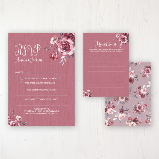 Bordeaux Vineyard Wedding RSVP Personalised Front & Back with Rustic Envelope