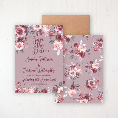 Bordeaux Vineyard Wedding Save the Date Personalised Front & Back with Rustic Envelope