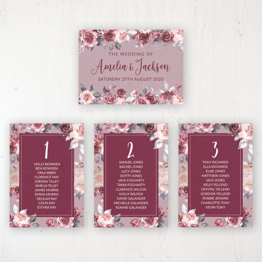 Bordeaux Vineyard Wedding Table Plan Cards Personalised with Table Names and Guest Names