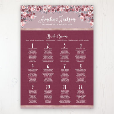 Bordeaux Vineyard Wedding Table Plan Poster Personalised with Table and Guest Names