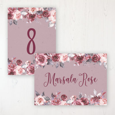 Bordeaux Vineyard Wedding Table Name & Number Personalised Table Name Card and Number Card