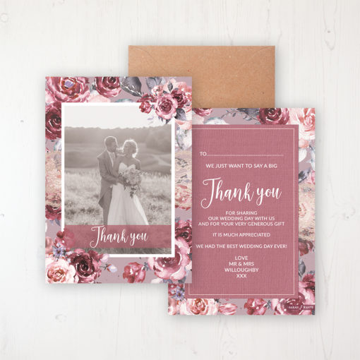 Bordeaux Vineyard Wedding Thank You Card - Flat Personalised with a Message & Photo
